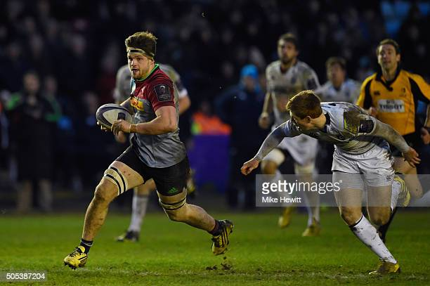 Jack Clifford of Harlequins makes a break during the European Rugby Challenge Cup pool three match between Harlequins and Cardiff Blues at the...
