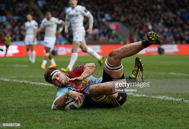 Jack Clifford of Harlequins scores his team's second try during the European Rugby Challenge Cup pool three match between Harlequins and Cardiff...