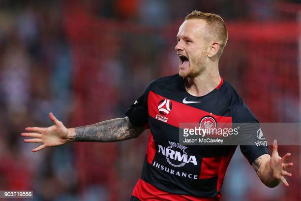 Jack Clisby of the Wanderers celebrates scoring a goal during the round 15 ALeague match between the Western Sydney Wanderers and Adelaide United at...