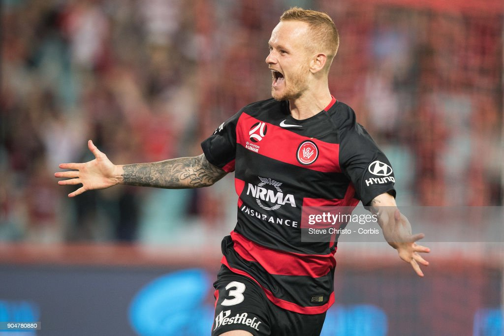 Jack Clisby of the Wanderers celebrates scoring a goal during the round fifteen of the A-League match between Western Sydney Wanderers and Adelaide United at Stadium Australia on January 10, 2018 in Sydney, Australia.