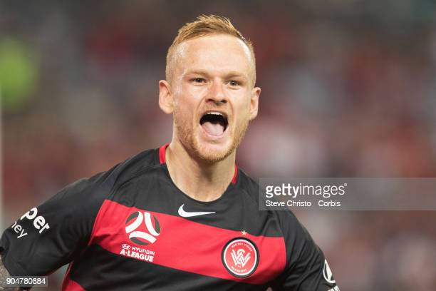 Jack Clisby of the Wanderers celebrates scoring a goal during the round fifteen of the ALeague match between Western Sydney Wanderers and Adelaide...