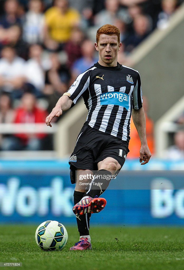 Jack Colback of Newcastle kicks the ball during the Barclays Premier League match between Newcastle United and West Bromwich Albion at St. James' Park on May 9, 2015, in Newcastle upon Tyne, England, United Kingdom.