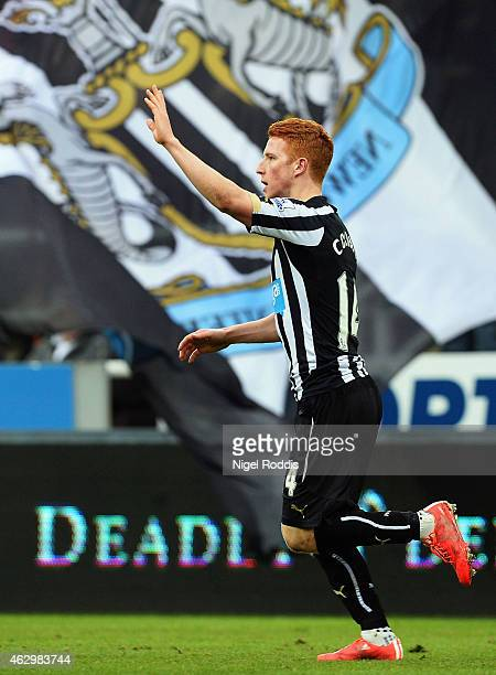 Jack Colback of Newcastle United celebrates as he scores their first goal during the Barclays Premier League match between Newcastle United and Stoke...