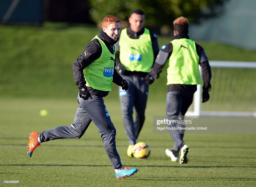 Jack Colback (L) of Newcastle United during a training session at The Newcastle United Training Centre on December 11, 2014 in Newcastle upon Tyne, England.