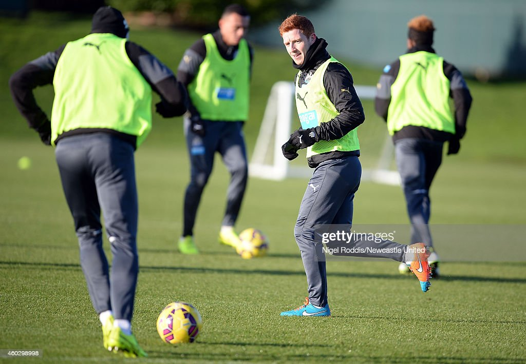 Jack Colback (2ndR) of Newcastle United during a training session at The Newcastle United Training Centre on December 11, 2014 in Newcastle upon Tyne, England.