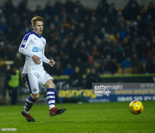Jack Colback of Newcastle United passes the ball during the Sky Bet Championship match between Wolverhampton Wanderers and Newcastle United at...