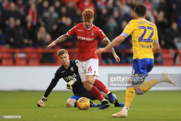 Jack Colback of Nottingham Forest beats Bailey Peacock-Farrell of Leeds United to score goal during the Sky Bet Championship match between Nottingham...