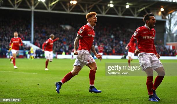 Jack Colback of Nottingham Forest celebrates his goal during the Sky Bet Championship match between Nottingham Forest and Leeds United at City Ground...