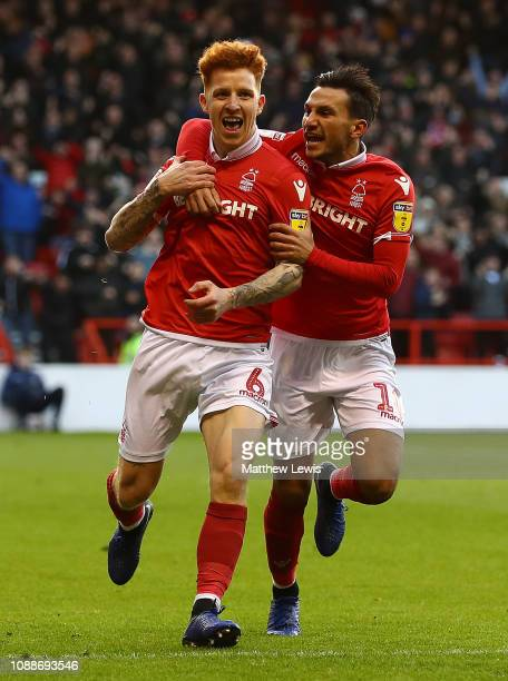 Jack Colback of Nottingham Forest celebrates his goal with Joao Carvalho of Nottingham Forest during the Sky Bet Championship match between...
