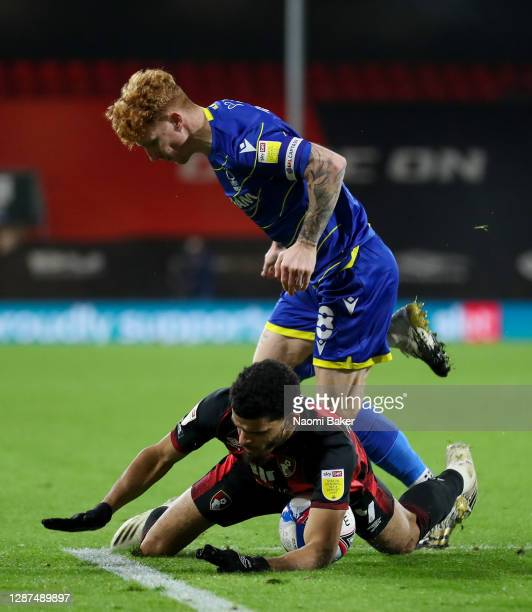 Jack Colback of Nottingham Forest clashes with Dominic Solanke of AFC Bournemouth leading to a penalty for Bournemouth during the Sky Bet...