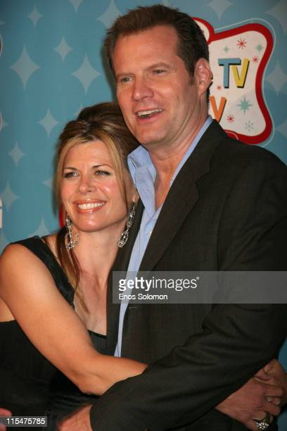 Jack Coleman and wife Beth Toussaint during LG Mobile TV Party at Stage 14 Paramount Studios in Hollywood CA United States