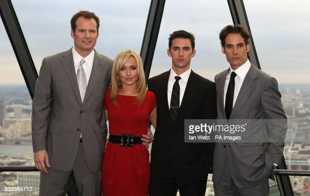 Jack Coleman Hayden Panettiere Milo Ventimigilia amp Adrian Pasdar from the cast of Heroes attends a photocall at 30 St Mary Axe in the City of London