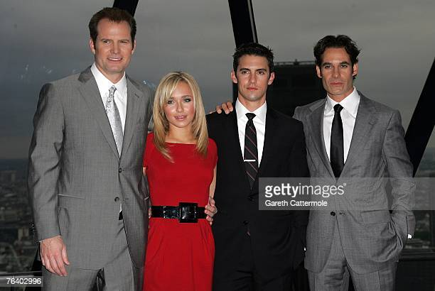 Jack Coleman Hayden Panettiere Milo Ventimiglia and Adrian Pasdar pose at the Heroes 2 photocall at 30 St Mary's Axe on August 30 2007 in London...