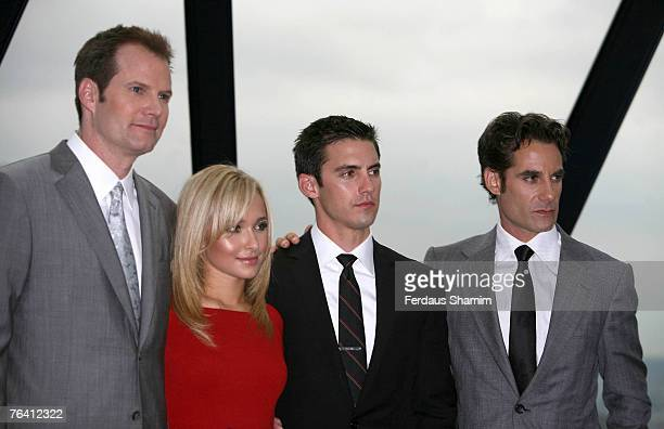 Jack Coleman Hayden Panettiere Milo Ventimiglia and Adrian Pasdar attend the Heroes Series 2 photocall on August 30 2007 in London England