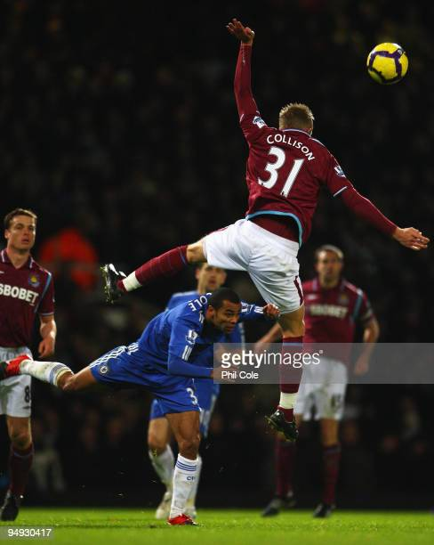 Jack Collison of West Ham United climbs higher than Ashley Cole of Chelsea during the Barclays Premier League match between West Ham United and...