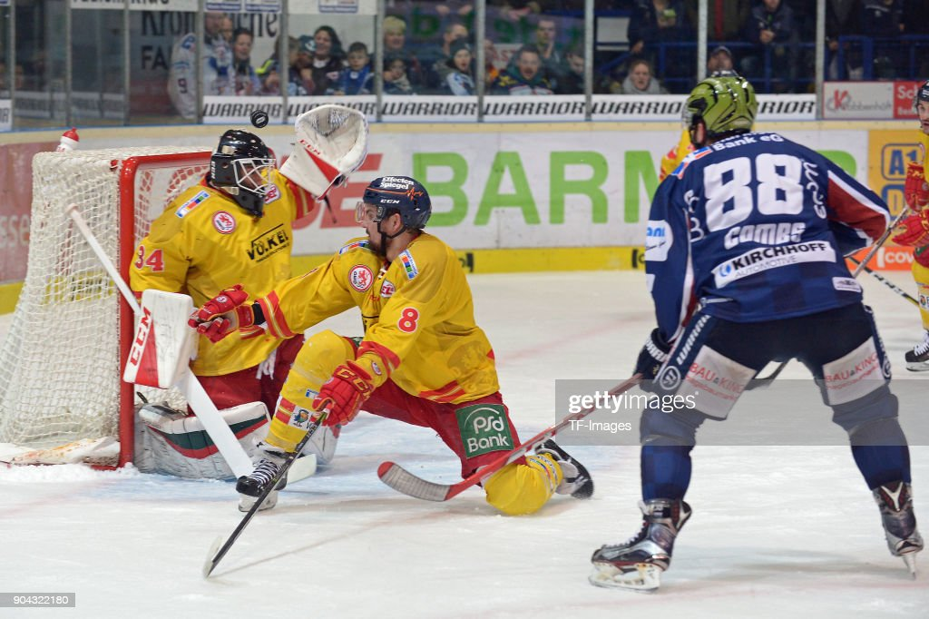 Jack Combs of Iserlohn controls the ball during the DEL match between Iserlohn Roosters and Duesseldorfer EG at Eissporthalle Iserlohn on January 12, 2018 in Iserlohn, Germany.