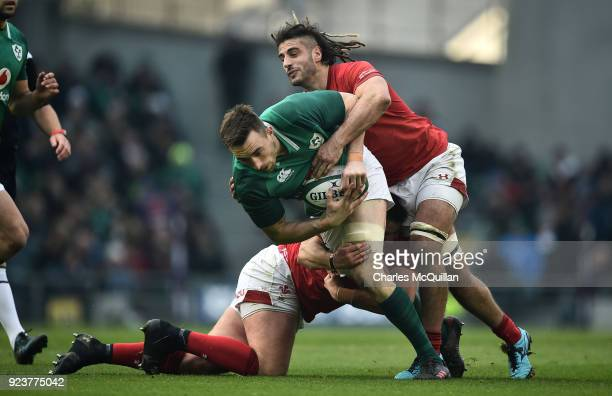 Jack Conan of Ireland and Josh Navidi of Wales during the Six Nations Championship rugby match between Ireland and Wales at Aviva Stadium on February...