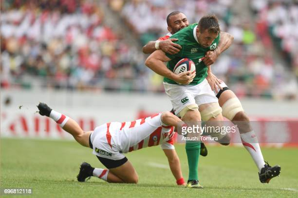 Jack Conan of Ireland runs with the ball during the international rugby friendly match between Japan and Ireland at Shizuoka Stadium on June 17 2017...