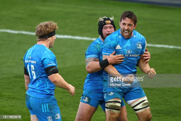 Jack Conan of Leinster celebrates with team mate Ed Byrne following the Heineken Champions Cup Quarter Final match between Exeter Chiefs and Leinster...