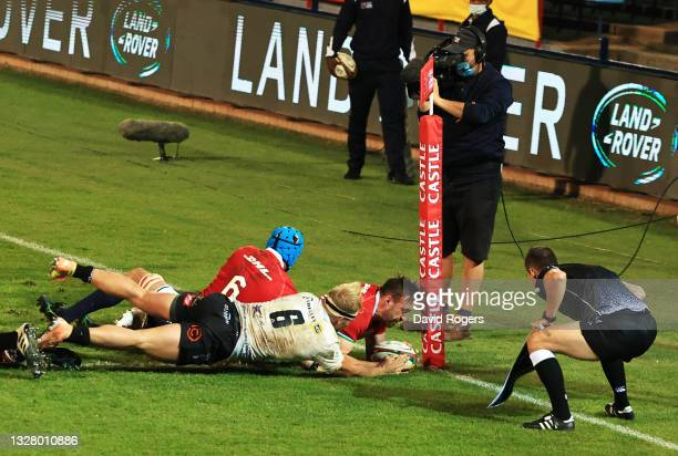 Jack Conan of The British and Irish Lions scores their side's fifth try during the tour match between Cell C Sharks and the British & Irish Lions at...