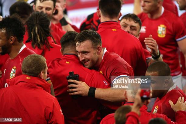 Jack Conan of the British & Irish Lions celebrates as British & Irish Lions beat South Africa 17-22 in the 1st test at Cape Town Stadium on July 24,...