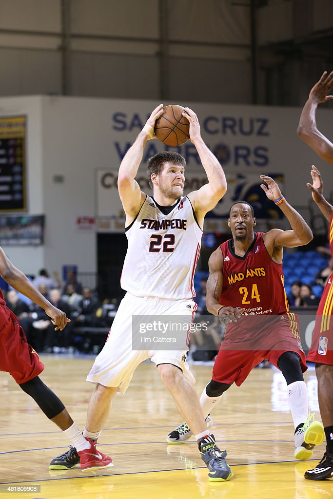 Jack Cooley #22 of the Idaho Stampede passes the ball against the Fort Wayne Mad Ants during the NBA D-League Showcase game on January 19, 2015 at Kaiser Permanente Arena in Santa Cruz, California.