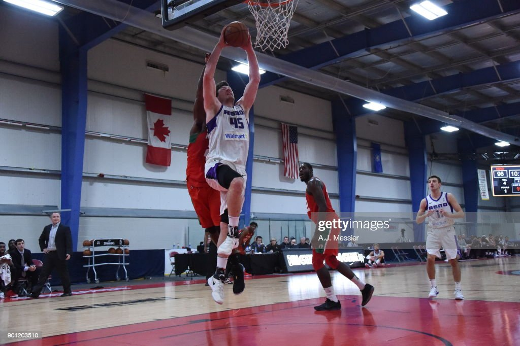 Jack Cooley #45 of the Reno Bighorns drives to the basket against the Maine Red Claws during the G-League Showcase on January 11, 2018 at the Hershey Centre in Mississauga, Ontario Canada.