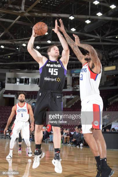 Jack Cooley of the Reno Bighorns drives to the basket against the Delaware 87ers during NBA GLeague Showcase Game 26 on January 13 2018 at the...