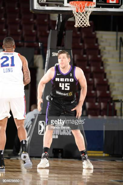 Jack Cooley of the Reno Bighorns goes on the defense against the Delaware 87ers during NBA GLeague Showcase Game 26 on January 13 2018 at the Hershey...