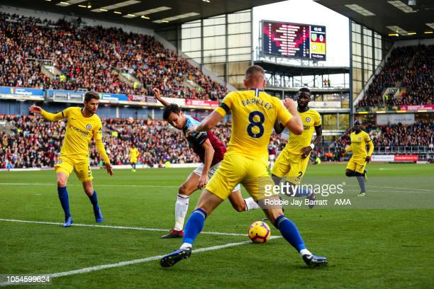 Jack Cork of Burnley and Ross Barkley of Chelsea during the Premier League match between Burnley FC and Chelsea FC at Turf Moor on October 28 2018 in...