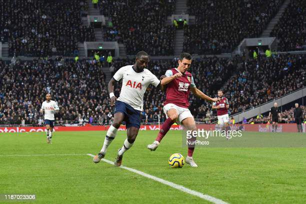 Jack Cork of Burnley battles for possession with Moussa Sissoko of Tottenham during the Premier League match between Tottenham Hotspur and Burnley at...