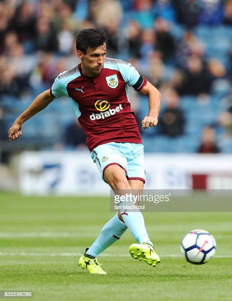 Jack Cork of Burnley controls the ball during the Premier League match between Burnley and West Bromwich Albion at Turf Moor on August 19 2017 in...