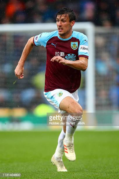 Jack Cork of Burnley during the Premier League match between Burnley FC and Leicester City at Turf Moor on March 16 2019 in Burnley United Kingdom