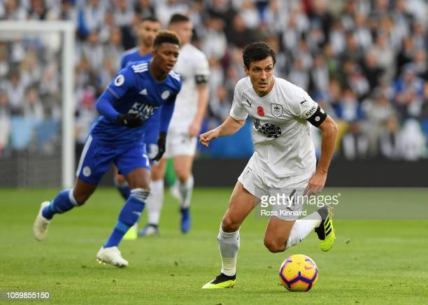 Jack Cork of Burnley runs with the ball during the Premier League match between Leicester City and Burnley FC at The King Power Stadium on November...
