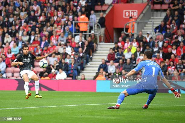 Jack Cork of Burnley scores a goal that is later disallowed during the Premier League match between Southampton FC and Burnley FC at St Mary's...