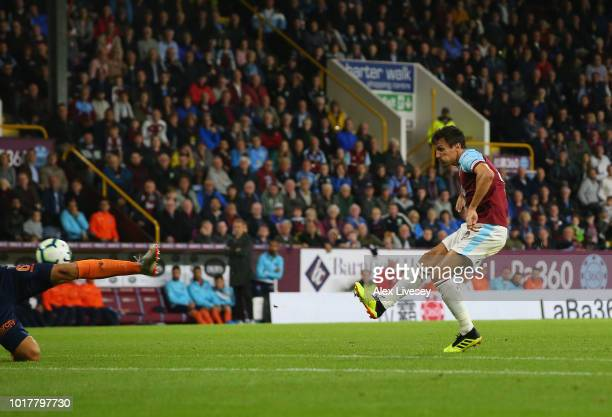 Jack Cork of Burnley scores during the UEFA Europa League third round qualifier second leg between Burnley and Istanbul Basaksehir at Turf Moor on...