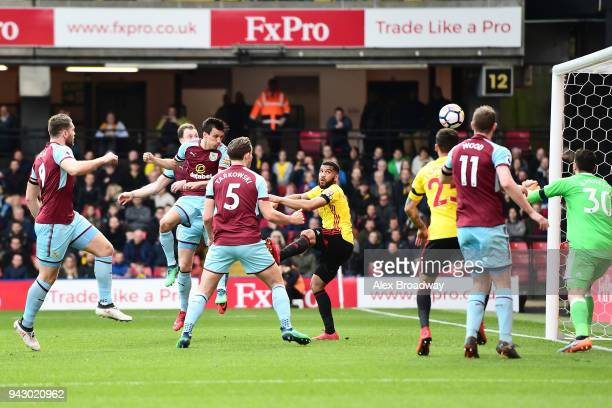Jack Cork of Burnley scores his side's second goal during the Premier League match between Watford and Burnley at Vicarage Road on April 7 2018 in...