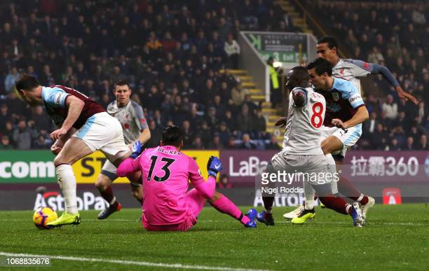 Jack Cork of Burnley scores his team's first goal past Alisson of Liverpool during the Premier League match between Burnley FC and Liverpool FC at...