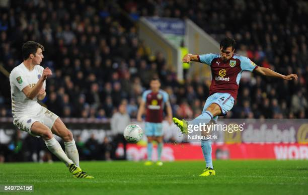 Jack Cork of Burnley shoots at goal during the Carabao Cup Third Round match between Burnley and Leeds United at Turf Moor on September 19 2017 in...
