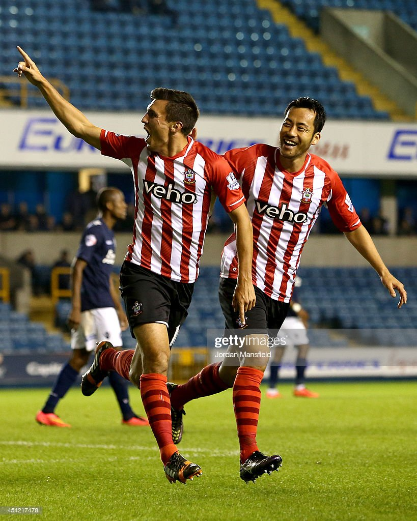 Jack Cork of Southampton celebrates after scoring to make it 1-0 during the Capital One Cup Second Round match between Millwall and Southampton at The Den on August 26, 2014 in London, England.