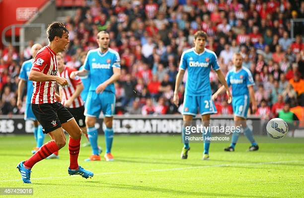 Jack Cork of Southampton scores their third goal during the Barclays Premier League match between Southampton and Sunderland at St Mary's Stadium on...