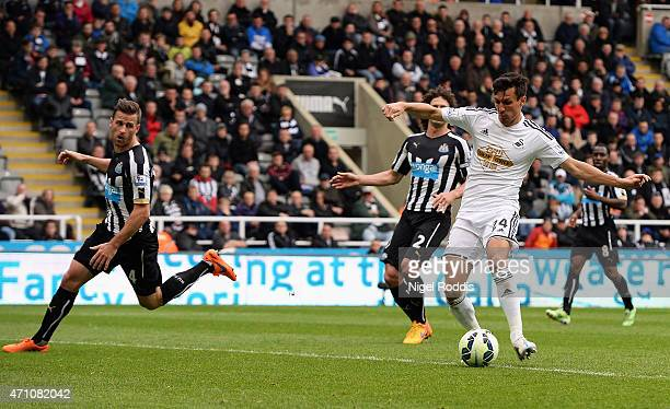 Jack Cork of Swansea City scores their third goal during the Barclays Premier League match between Newcastle United and Swansea City at St James'...
