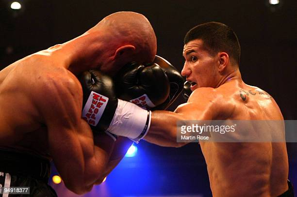 Jack Culcay of Germany exchanges punches with Jindrich Kubin of Czech Republic during the super welterweight fight during the Universum Champions...