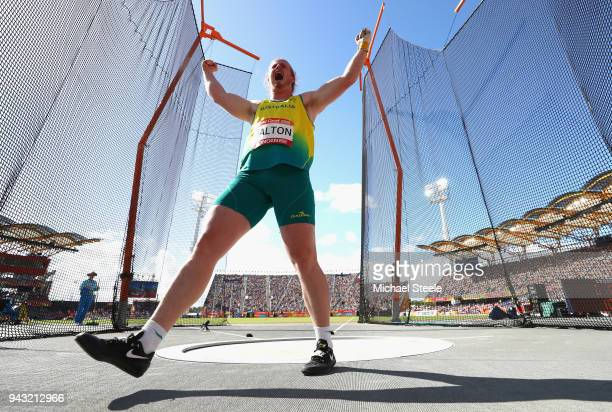 Jack Dalton of Australia celebrates in the Men's Hammer final on day four of the Gold Coast 2018 Commonwealth Games at Carrara Stadium on April 8...