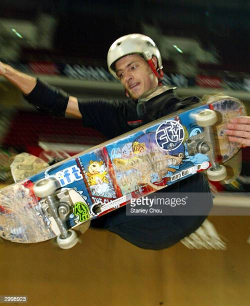 Jack Daniels of Australia in action during the Skateboarding Vert preliminary round at the Asian XGames finals on February 20 2004 held at the Bukit...