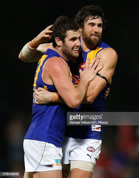 Jack Darling and Josh Kennedy of the Eagles celebrate during the 2015 AFL round 14 match between the Melbourne Demons and the West Coast Eagles at...