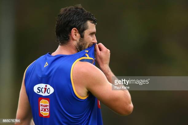 Jack Darling looks on during a West Coast Eagles AFL preseason training session at the WA Athletics Stadium on December 4 2017 in Perth Australia