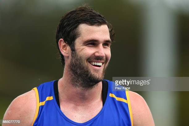 Jack Darling looks on while from the field following a West Coast Eagles AFL preseason training session at the WA Athletics Stadium on December 4...