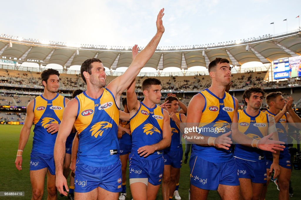 Jack Darling of the Eagles acknowledges the spectators while walking from the field after winning the round seven AFL match between the West Coast Eagles and the Port Adelaide Power at Optus Stadium on May 5, 2018 in Perth, Australia.