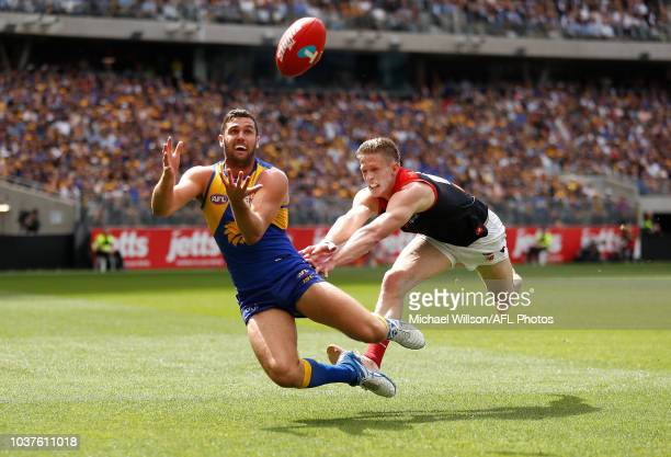 Jack Darling of the Eagles and Sam Frost of the Demons compete for the ball during the 2018 AFL Second Preliminary Final match between the West Coast...